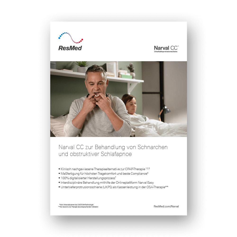 """Titelseite der Arzt-Broschüre """"Narval CC – Informationen für Zahnärzte"""""""