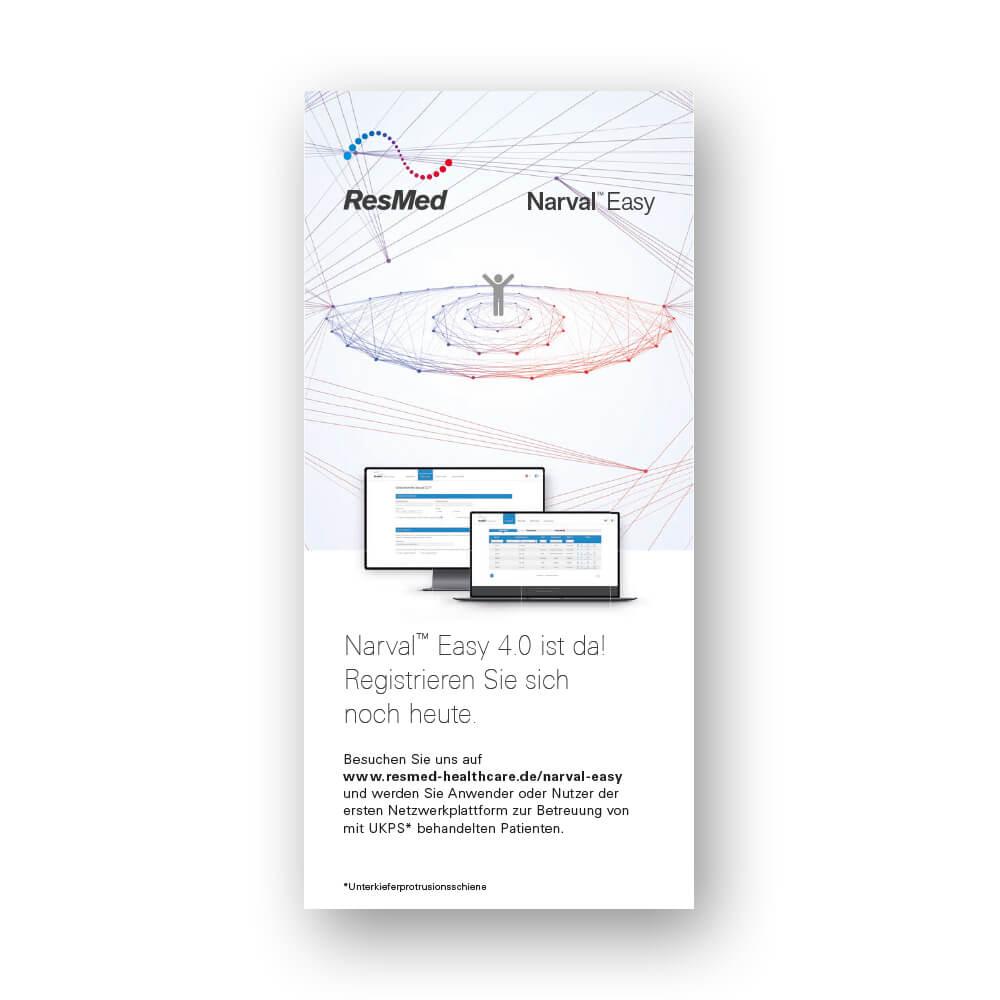 """Titelseite des Flyers """"Narval Easy – Die Netzwerkplattform für Schlafmediziner und Zahnärzte"""""""