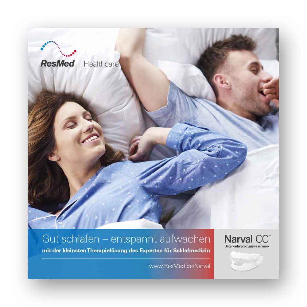 Titelseite der Patientenbroschüre Narval CC – Gut schlafen, entspannt aufwachen.