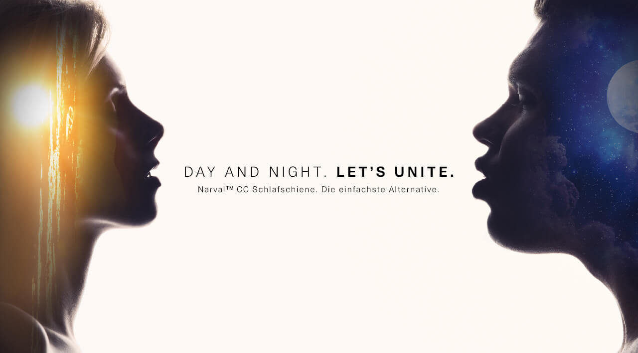 """Narval CC Kampagnenmotiv """"Day and Night. Let´s unite."""" Sonnenfrau und Mondmann im seitlichen Profil schauen sich an"""